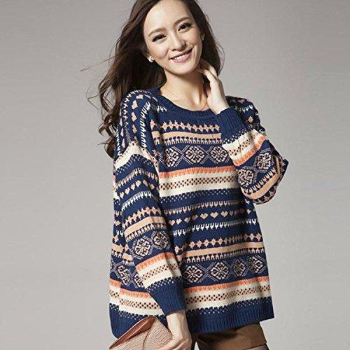 Minetom Pulls à Manches Longues Géométrique de Femme Pull Avec Capuche Automne Dames Manteau Hiver Sweat Shirt Bleu