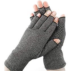 Surfmalleu Guantes Antiartrítico Anti-Artritis de Cobre Calor y Compresión Para Ayudar Aumentar Circulación Reduciendo Dolor Promover Sanación sin Dedos para Mujeres Hombres (Mediano)