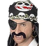 Smiffys Piraten Bandana mit Totenkopf bedruck. (Einheitsgröße) (Schwarz/Weiß/Rot)