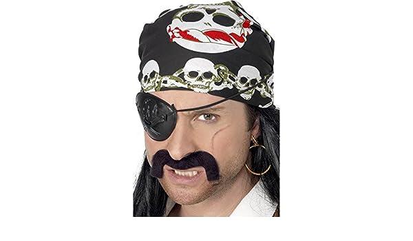 Bandana w// Hair,Tash and Beard Pirate Set Adult Fancy Dress Accessory