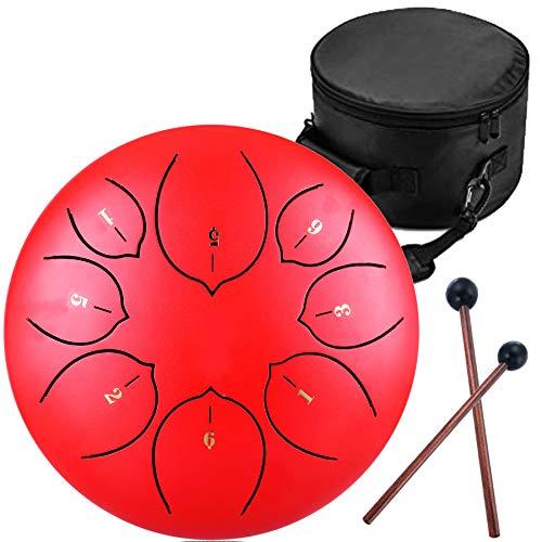 Lotus Handpan Zungentrommel 8 Noten 8 Zoll Chakra Tank Drum Stahl Percussion Hang Drum Instrument mit gepolsterter Reisetasche und Schlägel rot