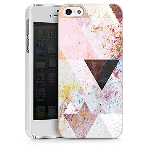 Apple iPhone 5s Hülle Case Handyhülle Dreiecke Grafisch Abstrakt Hard Case weiß