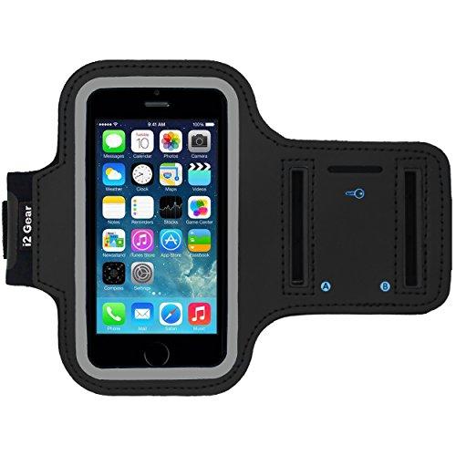 I2 Gear iPhone 5/5 s / 5C Se Laufen & Übung Armband mit Schlüsselhalter & reflektierendes Band (iPhone 5/5S/5C SE, Schwarz)