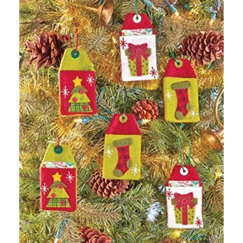 Set of 6 Reusable Felt Country Christmas Gift Card Holders by GetSet2Save