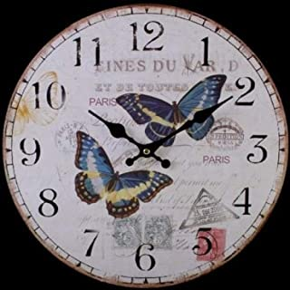 Attractive Large Rustic Shabby Chic Double Butterfly Design Wall Clock. Approx 34cm Across.