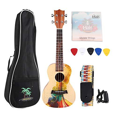 Fafeims 23in Mahagoni Fichtenholz Ukulele Portable 4 Saiten Gitarrenset für Kinder Anfänger