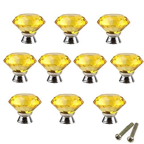 b82ec1f14c PETITES ECREVISSES Lot de 10 Poignées Bouton en Verre Cristal Diamant pour  Placard Tiroir Porte,