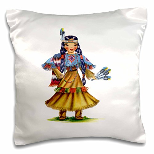 Native American-print-decke (Florene – Retro – Print von Retro Native American Puppe – Kissen Fall, Satin, weiß, 16 by 16