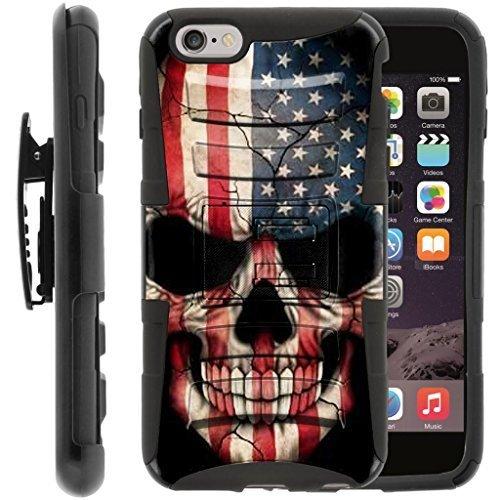turtlearmor | Kompatibel für Apple iPhone 6Hülle | iPhone 6S Schutzhülle [Hyper Schock] Hybrid Dual Layer Rüstung Holster Gürtel Clip Case Ständer -, US Flag Skull (Virgin Mobile-handys Iphone 4)