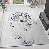 Teppich Schnee Tiger Katze Weiß Wild Modern für Das Wohnzimmer 160x230 cm