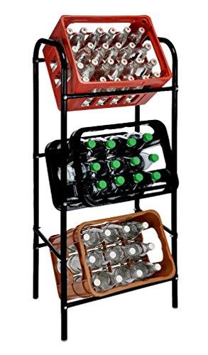 Spetebo Getränkekistenregal für 3 Getränkekästen - schwarz - Kastenregal, Kastenständer