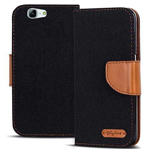 Verco Ascend G7 Hülle, Schutzhülle für Huawei G7 Tasche Denim Textil Book Case Flip Case - Klapphülle Schwarz