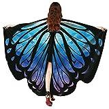 OVERDOSE Frauen 197 * 125CM Weiche Gewebe Schmetterlings Flügel Schal feenhafte Damen Nymphe Pixie Halloween Cosplay Weihnachten Cosplay Kostüm Zusatz Für Show/Daily (168 * 135CM, D-Blue-168 * 135CM)