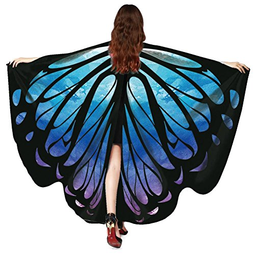 OVERDOSE Frauen 197 * 125CM Weiche Gewebe Schmetterlings Flügel Schal feenhafte Damen Nymphe Pixie Halloween Cosplay Weihnachten Cosplay Kostüm Zusatz Für Show/Daily (168 * 135CM, D-Blue-168 * 135CM) (Arbeit Große Für Die Halloween-kostüm-ideen)