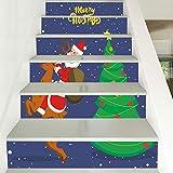 Treppenaufkleber Weihnachten Verkleiden Sich Treppen Weihnachtsmann Reiten Hirsch Treppen Dekorative Wandaufkleber 18CM*100CM*6 Stück