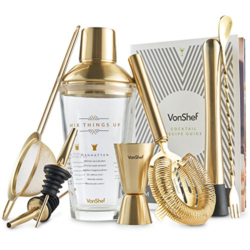 VonShef Luxus gebürstetes Gold / Glas Manhattan Cocktail-Shaker-Set in Geschenkbox, Rezeptbuch, 500ml Shaker, gezwirbelter Barlöffel, Barsieb, 25ml/50ml Messbecher & Edelstahl-Stößel