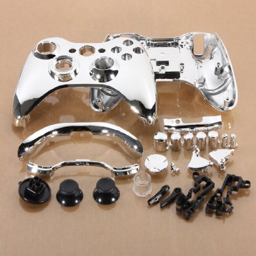 Price comparison product image Silver Chrome Full Housing Shell Case Cover for Xbox 360 Wireless Controller (silver)