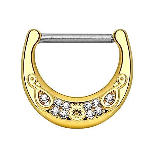 Piercingfaktor Brustwarzen Intimpiercing Clicker Ring mit Filigran besetzten Kristallen Gold