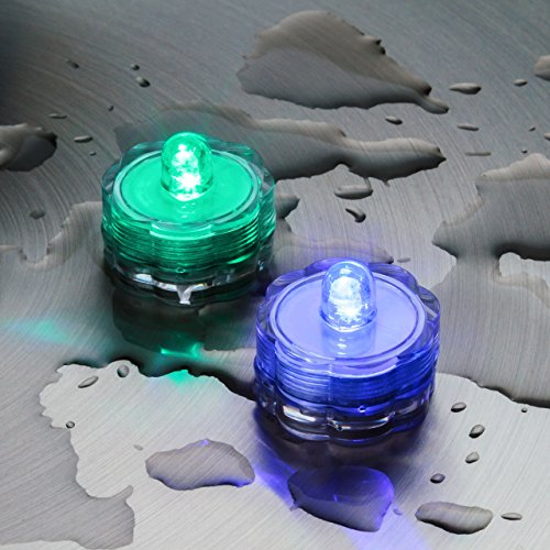10 Tea Light candeline led a batteria, led RGB cambiacolore, sommergibili, luci di natale, candele colorate a batteria, luci d'atmosfera, luci per feste