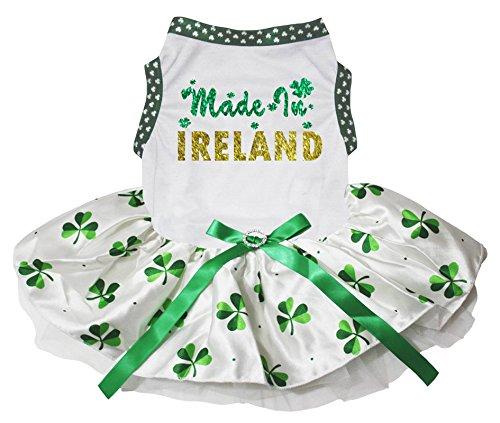 Petitebelle Puppy Kleidung Hund Kleid Made in Irland weiß TOP Clover Tutu (Kostüme Für Hunde In Irland)