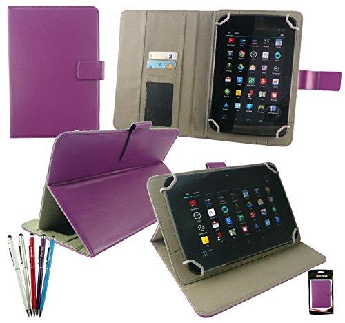 emartbuy Packung mit 5 Kugelschreiber 2 in 1 Eingabestift +Universalbereich Pflaume PU Leder Folio Wallet Hülle Schutzhülle Cover mit Kartensteckplätze Geeignet für I.onik TP - 1200QC(7.85 Zoll)