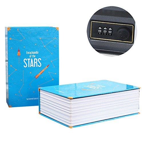 Somedays Simulation Buch Design Safe Mini home Passwort-Code Sicherheit Sparschwein Speicher Secret Hidden Buch Wörterbuch Cash Money Locker (Passwort-Stil) (Blau) -