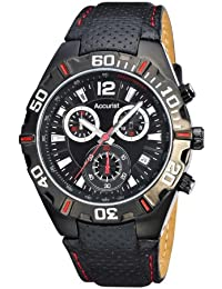 Accurist Men's Quartz Watch with Black Dial Chronograph Display and Black Leather Strap Ms834Br