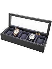 5 Grids Caja de Almacenamiento de Relojes, Estuche de Joyeria para Organizadora y Exhibición(