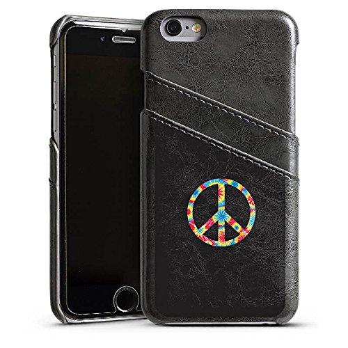 Apple iPhone 5s Housse Étui Protection Coque Peace Hippie couleurs Étui en cuir gris