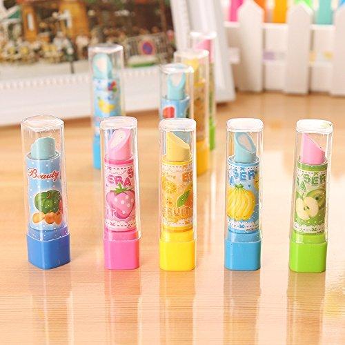 Westeng Radiergummi Lippenstiftform Korrekturtools Klassische für Bleistifte Zeichnung Schreibwaren Kreativ (Zufällige Farbe) (4)