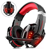 Gaming Headset für PS4 Xbox One PC, DIZA100 Gaming Kopfhörer mit Mikrofon, LED Light Bass Surround,Aluminiumgehäuse für Computer Laptop Mac Nintendo Switch Spiele (Rot)