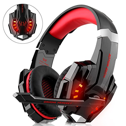 Gaming Headset für PS4 Xbox One PC, DIZA100 Gaming Kopfhörer mit Mikrofon, LED Light Bass Surround,Aluminiumgehäuse für Computer Laptop Mac Nintendo Switch Spiele -