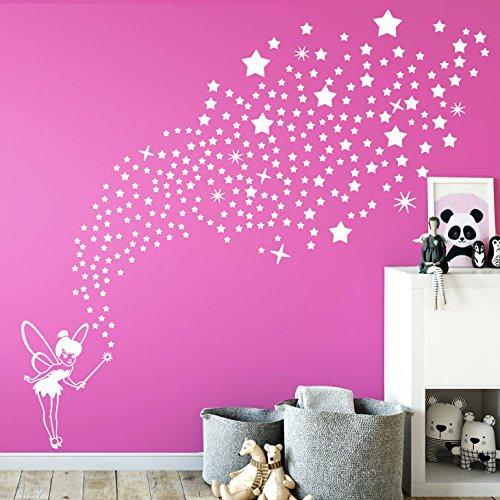 Grandora W5435 Wandtattoo Wandaufkleber Fee mit 266 Sternen Kinderzimmer Mädchen Traum pink
