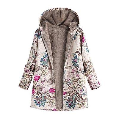 TIFIY Damen Mantel Plüschjacke Floral Print Winterjacke Casual Mantel Faux Für Warmen Lange Ärmel Outwear