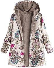 Dubocu Women's Winter Warm Outwear Floral Print Hooded Pockets Vintage Oversize C
