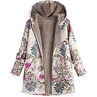 Damen Winterjacke Wintermantel Steppjacke Blumenmuster Mantel Jacke Strickjacke Outwear Frauen Winter Warm Outwear Trenchcoat Coat