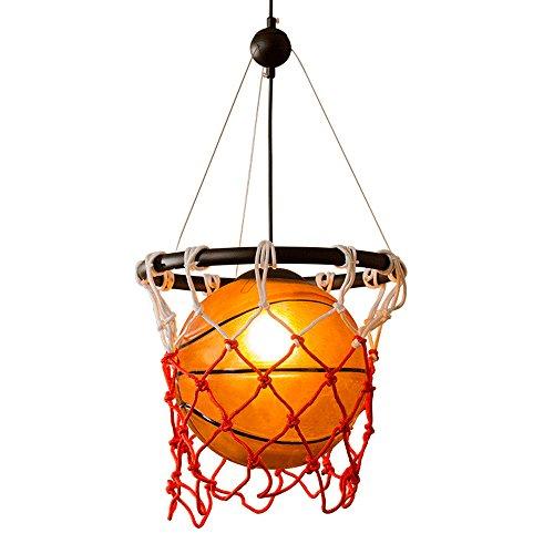 Americano stile vintage pallacanestro palla a sospensione bar ristorante bar sport sportivo palestra art deco retro lampadario in vetro fai da te treccia palla da pallacanestro luce di soffitto e27