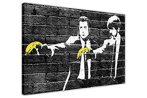 """Impression sur toile Bansky Pulp Fiction Bananes Jaunes Wall Art Images Pièce Décoration Poster Impression Noire, Agrafes Toile Bois dense, noir, 09- A0 - 40"""" X 30"""" (101CM X 76CM)"""