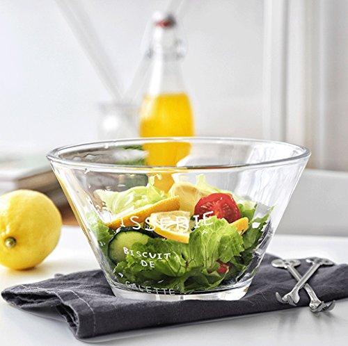 TKZS Transparente Glasschüssel mit Gemüse- und Obstsalatschüssel Dessertschüssel mit Frühstücksschüssel mit Instant-Nudelschüssel Candy Dish 6,5 Zoll (16 m lang, 8 cm breit, 9 cm hoch) Blue Glass Candy Dish