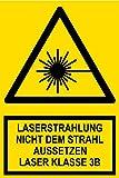 Warnschild aus Kunststoff - Laserstrahl Nicht dem Strahl aussetzen Laser Klasse 3B -- 20 x 30 cm
