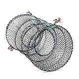 FGASAD Krabbelfalle Tragbar gefaltetes Fischernetz Handwurfkäfig Krabbenfalle Nylon Seil zum Fangen...