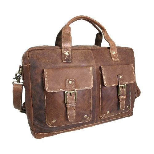 Shalimar Vintage Aktentasche/Arbeitstasche aus geöltem Leder Modell: Forbes, Farbe/Colour:Natural Buckskin