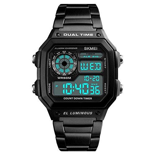 Skmei Reloj Hombre, Hombre Digtial Reloj Acero Inoxidable Negro de Merca Lujo Retroiluminación Cronómetro Acuático 50m Reloj Deportivo Digital para Hombre