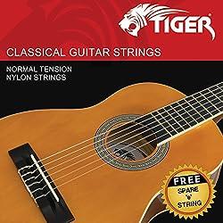 Tiger Jeu de cordes pour guitare classique - Tension normale Cordes en nylon - antirouille