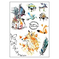 BESTPICKS Large Waterproof Fashion Temporary Tattoo Sticker - GUITAR, PIANO, FEATHER, WOLF, BUTTERFLY - 14.5 X 21 cm Sheet