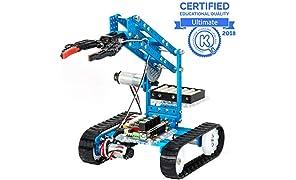 Makeblock mBot Ultimate, Kit Robot programmabile 10 in 1, Oltre 160 Parti meccaniche e Moduli, Mainboard MegaPi, Compatibile con Arduino e Raspberry Pi, Telecomando Senza Fili