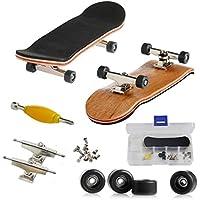 AumoToo Mini Tastiera, Skateboard professionale a dito per il ponte tecnico Giocattolo di imbarco del pattino dell'assemblea del legname di acero Giochi sportivi Regalo di Natale dei bambini (Nero)