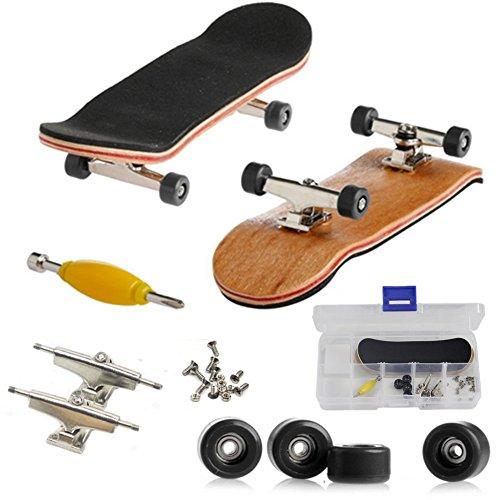 Mini-touche, professionnel planche à roulettes Doigt pour Tech Deck érable bois bricolage Assemblée Skate Boarding jouet jeux de sport enfants Noël cadeau par AumoToo (Noir)
