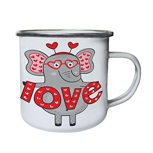 chica elefant en el amor me encanta Retro, lata, taza del esmalte...
