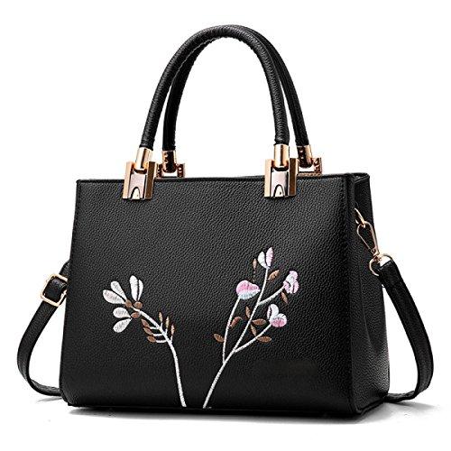 Handtaschen Mit Stickerei EaseGave Exquisite Blume Vegan Leder Schultertaschen Für Frauen Handtasche Black